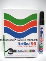 Artline 90 Marker Permanent Medium Chisel Black BX12
