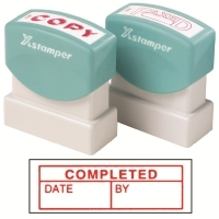 XSTAMPER STAMP - Completed/Date/By (Red) 1542 (5015422)