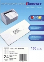 Unistat Labels 38933  BX100 Sheets (24 labels/sheet) 70x36mm