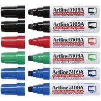 Artline Big Nib Whiteboard Marker 5109A Chisel Assorted 6 Pack