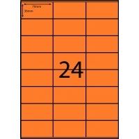 Rediform Colour Labels A4 Bx100 (24/sh) 70x36 Flouro Orange