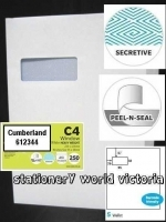 Cumberland Envelope 324x229 C4 StripSeal Large Window Sec 100g