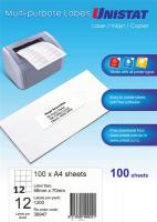 Unistat Labels 38947  BX100 Sheets (12 labels/sheet) 68x70mm