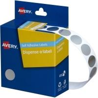 Avery Dispenser Label 14mm Silver BX500
