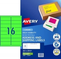 Avery Laser Label L7162FG PK25 sheets 16/Sheet Flouro Green