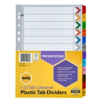 Divider A4 Manilla Reinforced Color 1-12 Marbig 35019F