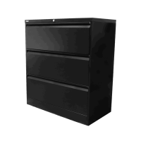 Go Lateral Filing Cabinet 3 Drawer Black