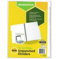 Divider A4 Manilla White Unpunched 10Tab Marbig 37405F