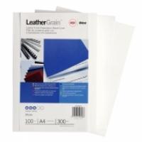 GBC IBICO BINDING COVERS A4 Leathergrain PK100 White