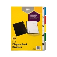 Divider A4 PVC 5 Tab (For Display Book) Marbig 20089