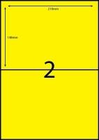 Rediform Colour Labels A4 Bx100 (2/1sh) 210x148 Flouro Yellow