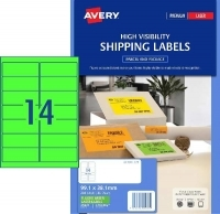 Avery Laser Label L7163FG PK25 14/Sht Flouro Green