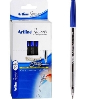 Artline Smoove Ballpoint Stick Pens 1.0mm BX50 Medium Blue