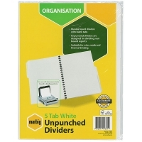 Divider A4 Manilla White Unpunched 5Tab Marbig 37305F
