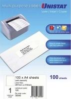 Unistat Labels 38940  BX100 Sheets (1 label/sheet) 297x210 +Back