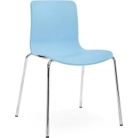 ACTI 4C 4 LEG CHAIR Chrome Frame With Plastic Shell Pale Blue