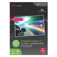 GBC Laminating Pouch A4 80mic Gloss BX100 High Speed BL80MHSA4