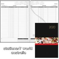 Milford 2020 Table Booking Diary A4 2 Pages per Day Black