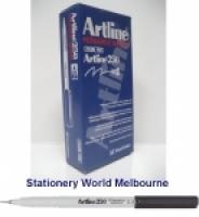 Artline Fineliner Marking Pens No 250 (0.4mm) Black BX12