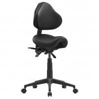 STAGE Saddle Stool & Back Rest - Black Polyurethane leather