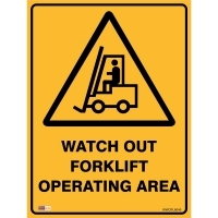 SAFETY SIGN - Watch Out Forklift 450mmx600mm Metal