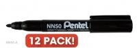 Pentel NN50 Marker Permanent Bullet Black BX12