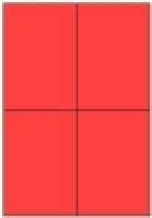 Custom Label 413 A4 BX100 4/sheet Fluro Red 105x147.6