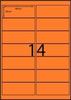 Rediform Colour Labels A4 Bx100 (14/sh) 98x38 Flouro Orange