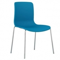 ACTI 4C 4 LEG CHAIR Chrome Frame With Plastic Shell Ocean Blue