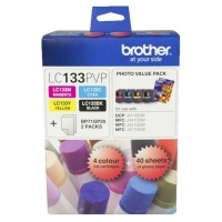 Brother Ink Cartridge LC133PVP ValuePack 1ea BK C M Y +40 Paper