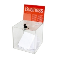 Esselte Ballot Box Small 210x210x210mm Clear +Header Card +Lock