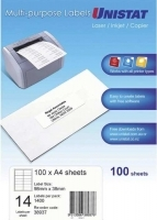 Unistat Labels 38937  BX100 Sheets (14 labels/sheet) 98x38mm