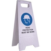 CLEANLINK SAFETY SIGN Head Protection Must Be Worn 32x31x65cm