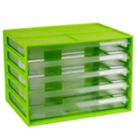 ITALPLAST A4 DOCUMENT CABINET 5 Drawer Lime Clear