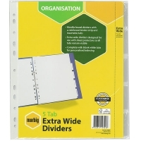 Divider A4 Manilla White/Clear Insertable 5Tab Marbig 37650