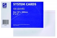 Card File Box System Cards (8x5) 203x127mm Ruled White PK100