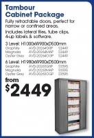 AVERY Lateral Filing Package 1 Tambour Cabinet 900w 3 level
