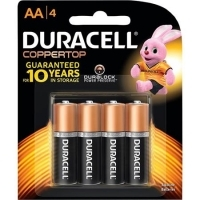 Duracell Battery Coppertop Alkaline AA Card of 4