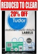 Tudor Labels Multipurpose A4 BX100 141077 (33/sh) 70x25.4mm