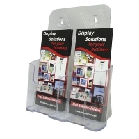 Deflecto Brochure Holder DL 2Pocket Portrait Clear 77411