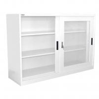 STEELCO SLIDING GLASS DOOR CUPBOARD 1015 2 Shelf White Satin