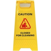 CLEANLINK SAFETY SIGN Closed For Cleaning Yellow 32x31x65cm