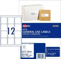 Avery 938208 General Use Labels L7164GU BX100 12/sheet 63.5x72mm