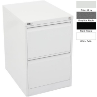 Go Steel Filing Cabinet 2 Drawer White Satin