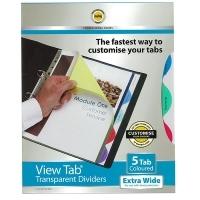 Divider A4 View Tab PVC Colours ExtraWide 5Tab Marbig 37845