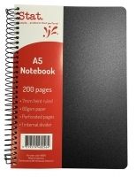 STAT PP Cover Notebook A5 200pg 60gsm 7mm Ruling PK5