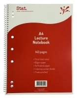 STAT LECTURE Notebook A4 140pg 60gsm 7mm Ruling Board Cover PK10