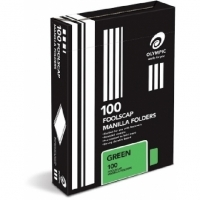 Olympic Manilla Folders Coloured Fcap BX100 Green