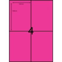 Rediform Colour Labels A4 Bx100 (4/sh) 104x148 Flouro Pink