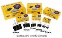 Marbig Foldback Clips 25mm ( Box of 12  ) Black 87065